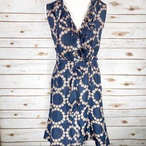 Lil Anthropologie Navy Blue with Polka Dot Dress